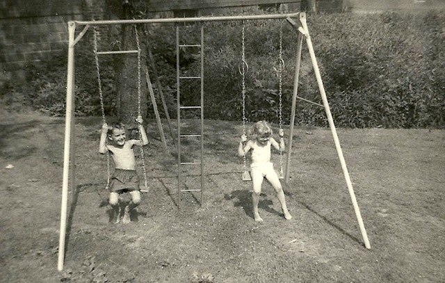 My brother Keith and me, chased off the couch again and enjoying the original  virtual playtime!