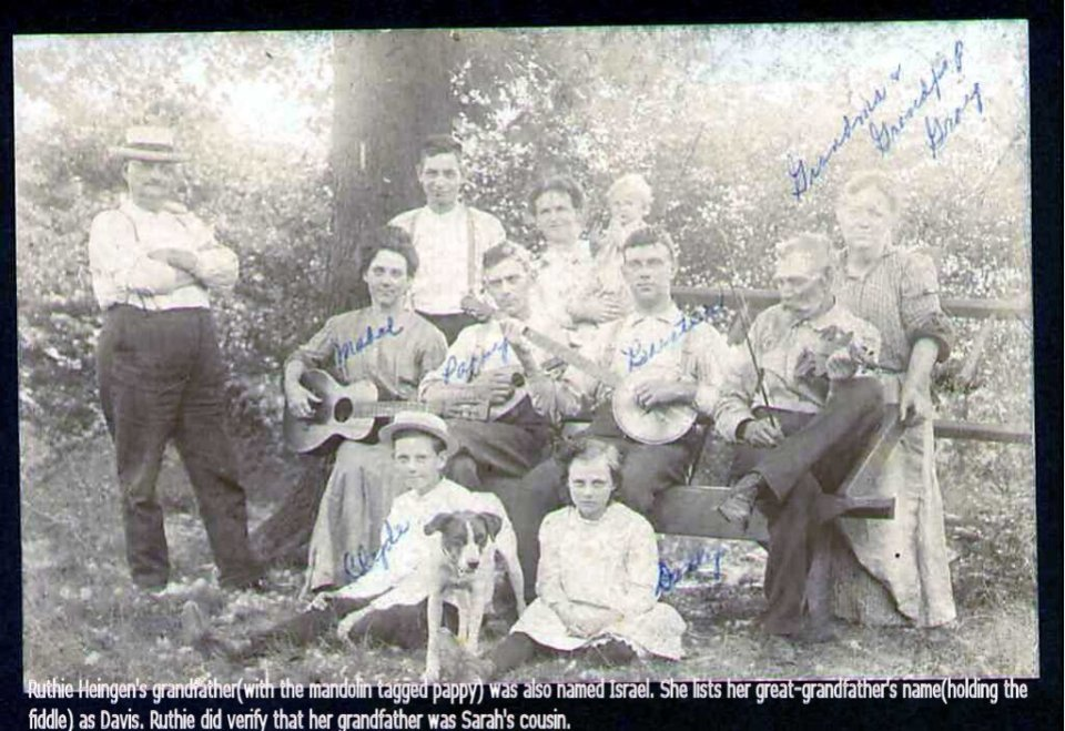 Photo 1 – Another Gray Family of musicians was headed by Davis Gray (seated with violin) with his daughters and sons, first-cousins of Sarah Gray Armstrong.