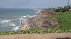he scenic cliffs of Miraflores, known for its shopping areas, gardens, flower-filled parks and beaches, it is one of the upscale districts in the city of Lima.